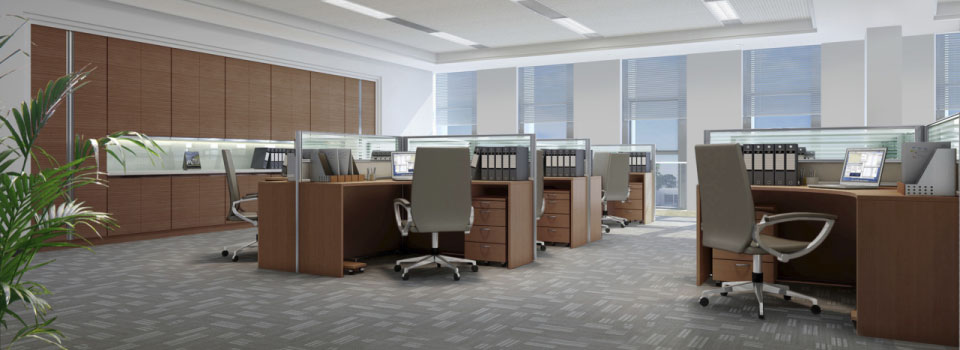 wooden office desks with grey chairs