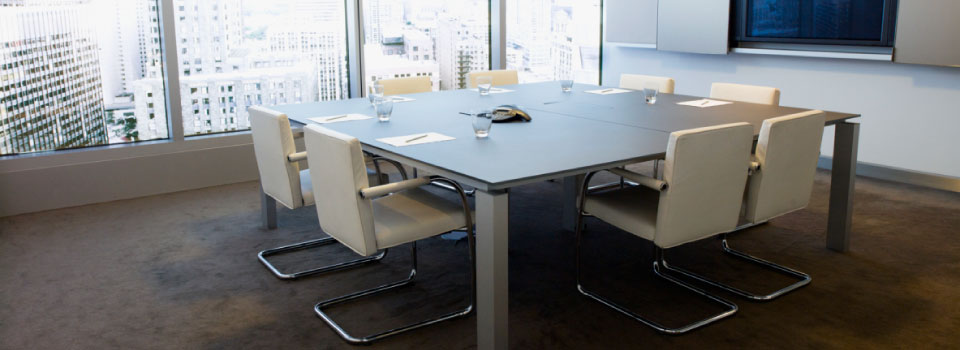 meeting room with modern white chairs